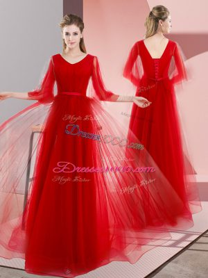 Ideal Tulle V-neck Long Sleeves Lace Up Beading Dress for Prom in Red