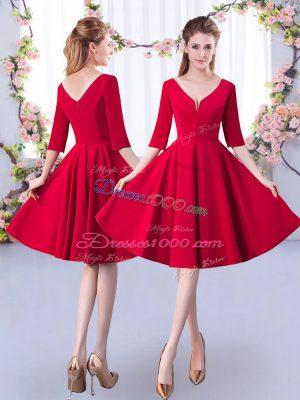 Red Zipper Bridesmaid Dress Ruching Half Sleeves Knee Length