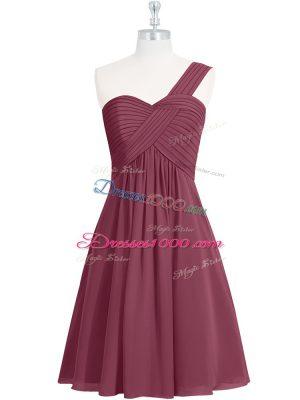 Burgundy Zipper One Shoulder Ruching Prom Dresses Chiffon Sleeveless