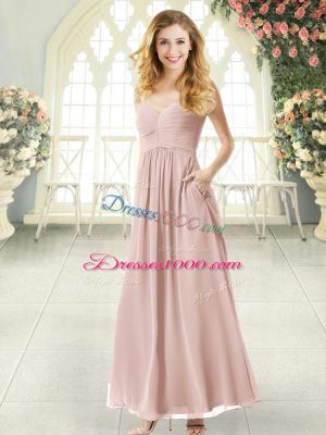 Luxury Pink Empire Chiffon Spaghetti Straps Sleeveless Ruching Ankle Length Criss Cross Dress for Prom