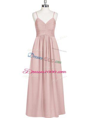 Custom Fit Chiffon Spaghetti Straps Sleeveless Zipper Ruching Homecoming Dress in Baby Pink