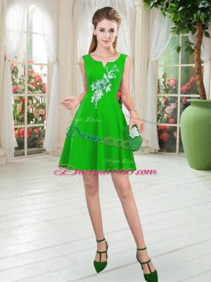 Sleeveless Satin Mini Length Zipper Dress for Prom in Green with Appliques