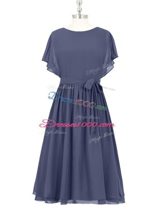 Cheap Scoop Short Sleeves Chiffon Homecoming Dress Bowknot Zipper