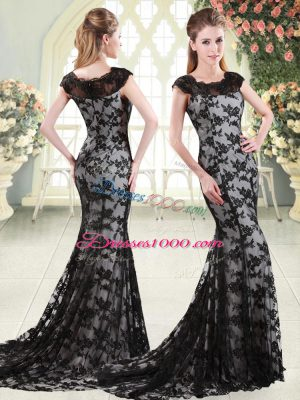 Latest Black Lace Zipper Scoop Sleeveless Sweep Train Appliques