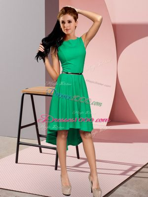 High Low Green Homecoming Dress Sleeveless Belt