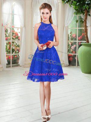 Royal Blue Zipper Evening Dress Sleeveless Knee Length Lace