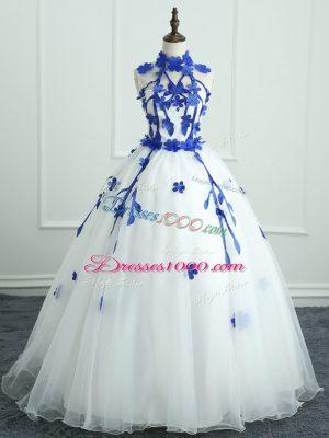 Modern White Zipper High-neck Appliques Quince Ball Gowns Organza Sleeveless