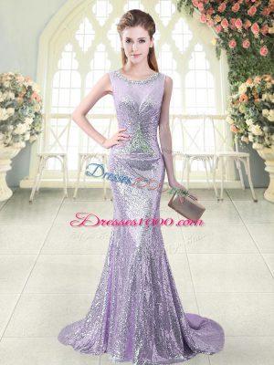 Glittering Lavender Scoop Zipper Beading Homecoming Dress Brush Train Sleeveless