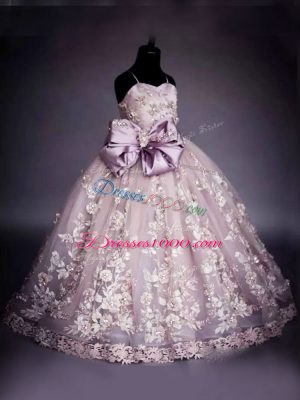 Wonderful Pink Pageant Dresses Wedding Party with Beading and Bowknot Spaghetti Straps Sleeveless Lace Up