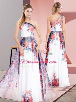 White Chiffon Zipper One Shoulder Sleeveless Floor Length Prom Dress Pattern