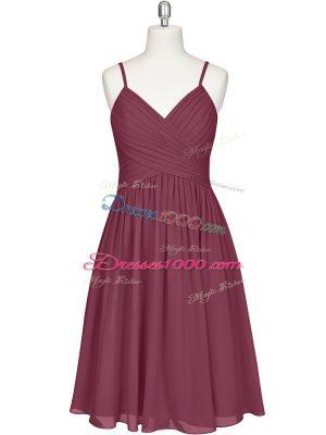 Custom Made Spaghetti Straps Sleeveless Chiffon Dress for Prom Pleated Zipper