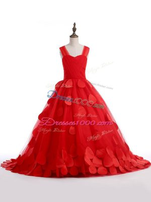Amazing Appliques Evening Gowns Red Lace Up Sleeveless Brush Train