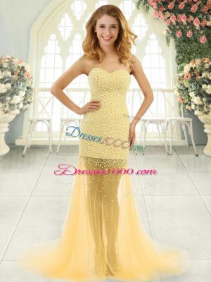 Fancy Gold Column/Sheath Beading Prom Gown Zipper Tulle Sleeveless
