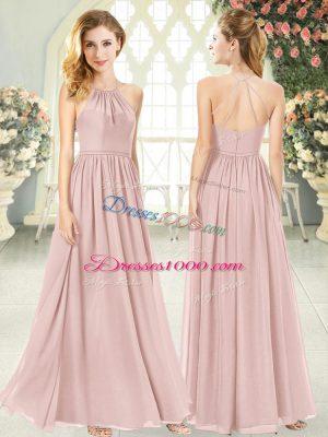 Floor Length Pink Dress for Prom Chiffon Sleeveless Ruching