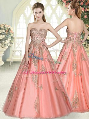 Watermelon Red Sleeveless Floor Length Appliques Lace Up Prom Gown