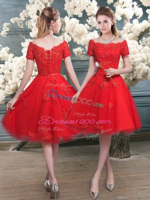 Off The Shoulder Short Sleeves Lace Up Homecoming Dress Red Tulle