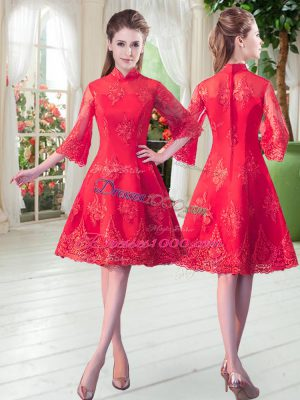 Lace Prom Dress Red Zipper 3 4 Length Sleeve Knee Length