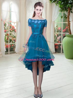Appliques Evening Dress Teal Lace Up Short Sleeves High Low