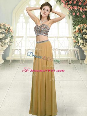 Comfortable Chiffon Sweetheart Sleeveless Backless Beading Homecoming Dress in Gold