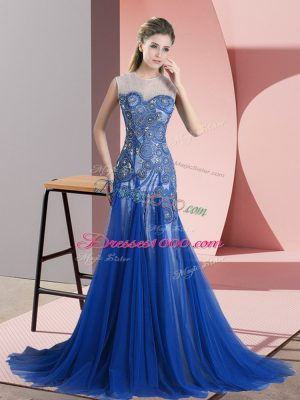 Great Royal Blue Casual Dresses Scoop Sleeveless Brush Train Backless