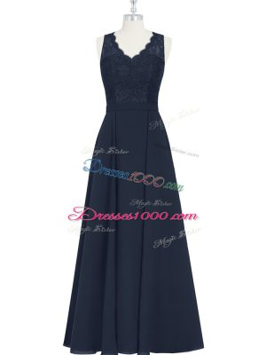 Floor Length Black Prom Party Dress Chiffon Sleeveless Ruching