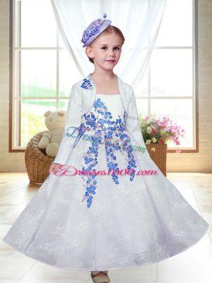 A-line Flower Girl Dresses White Straps Lace Sleeveless Ankle Length Zipper