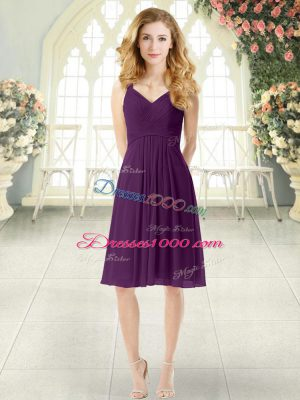 Purple Sleeveless Knee Length Ruching Zipper Prom Evening Gown