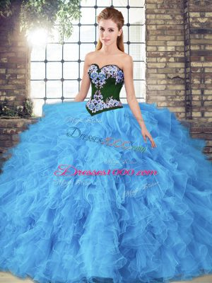 Baby Blue Ball Gowns Beading and Embroidery Quince Ball Gowns Lace Up Tulle Sleeveless Floor Length