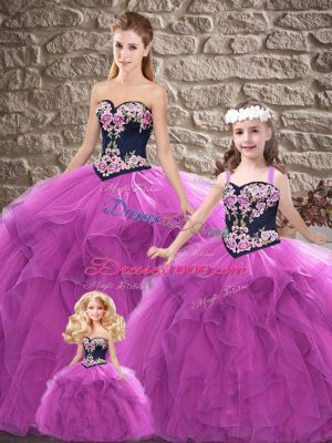 Simple Purple Ball Gowns Tulle Sweetheart Sleeveless Beading and Embroidery Floor Length Lace Up Quinceanera Dress