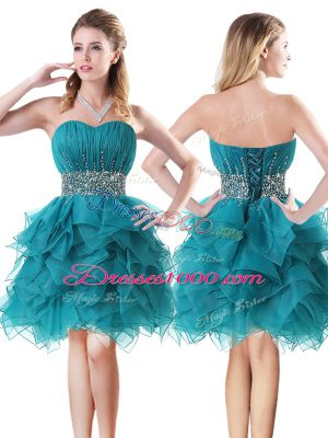 Sweetheart Sleeveless Lace Up Teal Organza