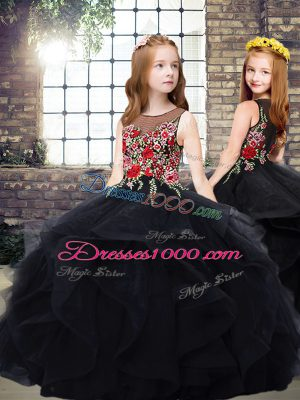 Scoop Sleeveless Tulle Winning Pageant Gowns Embroidery and Ruffles Zipper