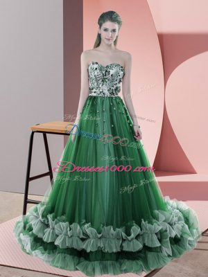 Popular Sleeveless Tulle Sweep Train Lace Up Party Dress for Toddlers in Green with Beading and Appliques