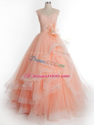 Clearance Sleeveless Tulle Floor Length Lace Up Sweet 16 Quinceanera Dress in Peach with Ruffles