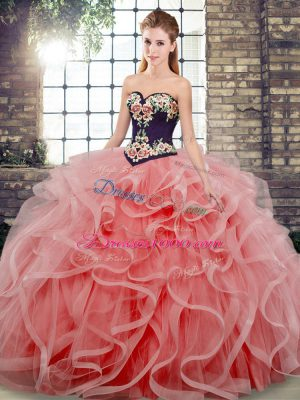 Sweetheart Sleeveless Tulle Sweet 16 Quinceanera Dress Embroidery and Ruffles Sweep Train Lace Up
