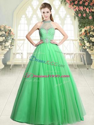 Green A-line Halter Top Sleeveless Tulle Floor Length Zipper Beading Party Dress for Girls