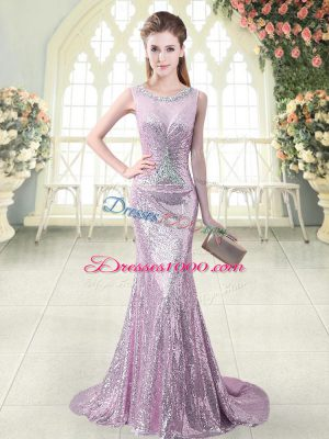 Most Popular Lilac Sequined Zipper Scoop Sleeveless Dress for Prom Brush Train Beading and Sequins