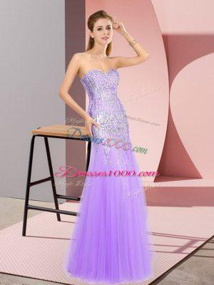 Beading Prom Gown Lavender Zipper Sleeveless Floor Length