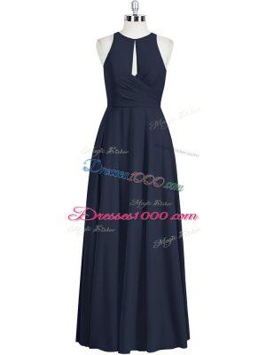 Edgy Black Sleeveless Floor Length Ruching Zipper Prom Evening Gown
