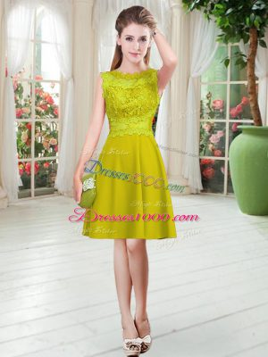 Sleeveless Satin Knee Length Zipper Prom Dresses in Gold with Lace