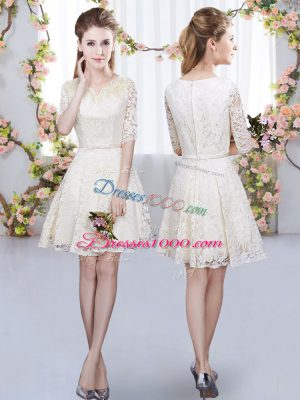 Romantic Champagne A-line V-neck Half Sleeves Lace Mini Length Zipper Belt Dama Dress for Quinceanera