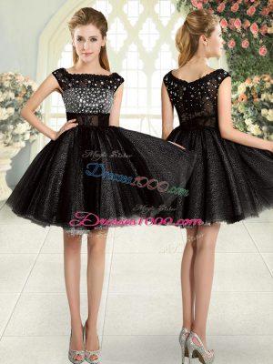 Black Square Neckline Beading Dress for Prom Sleeveless Zipper