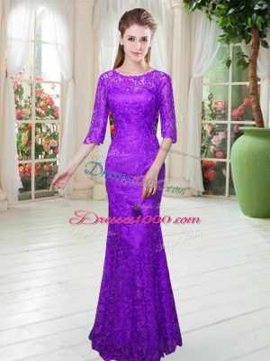 Purple Zipper Prom Dresses Lace Half Sleeves Floor Length