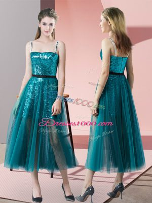 Decent Spaghetti Straps Sleeveless Zipper Prom Dresses Teal Tulle