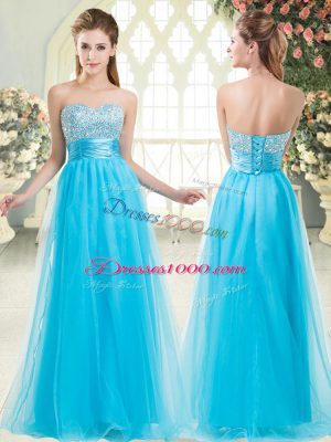 Best Aqua Blue Tulle Lace Up Prom Evening Gown Sleeveless Floor Length Beading