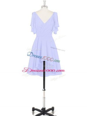 Baby Blue Short Sleeves Ruching Mini Length Dress for Prom