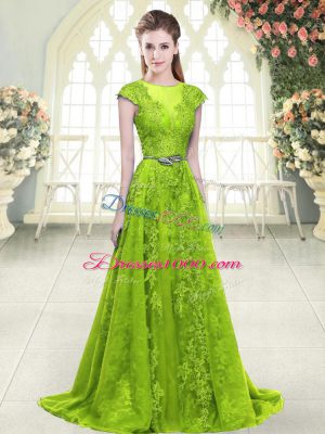 Artistic Zipper Prom Evening Gown Yellow Green for Prom and Party with Beading and Pick Ups Sweep Train