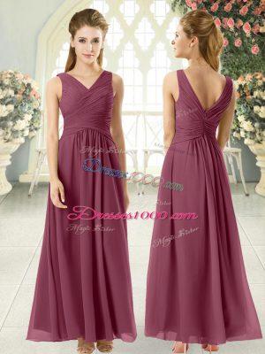 Enchanting Chiffon V-neck Sleeveless Zipper Ruching Prom Party Dress in Burgundy