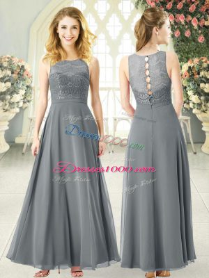 Sleeveless Ankle Length Lace Clasp Handle Prom Party Dress with Grey