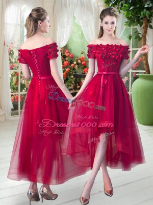 Amazing Appliques Prom Party Dress Red Lace Up Short Sleeves High Low