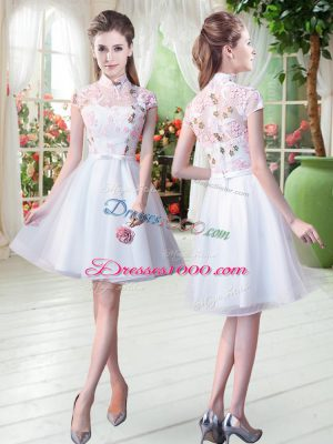 Colorful White Tulle Zipper High-neck Short Sleeves Knee Length Dress for Prom Appliques